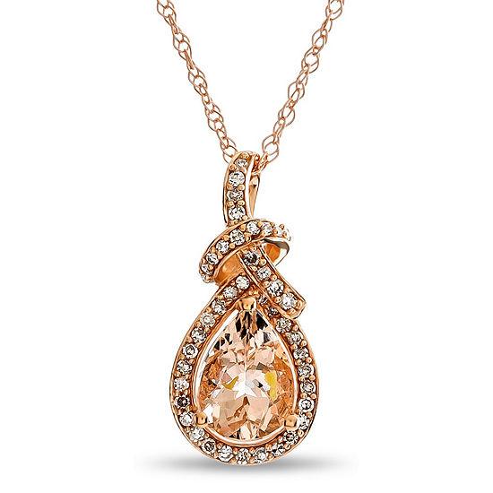 Womens Genuine Pink Morganite 10k Rose Gold Pendant Necklace