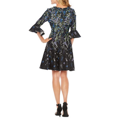 Danny & Nicole 3/4 Bell Sleeve Floral Fit & Flare Dress