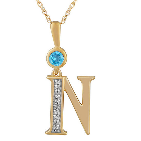 N Womens Genuine Blue Topaz 14K Gold Over Silver Pendant Necklace