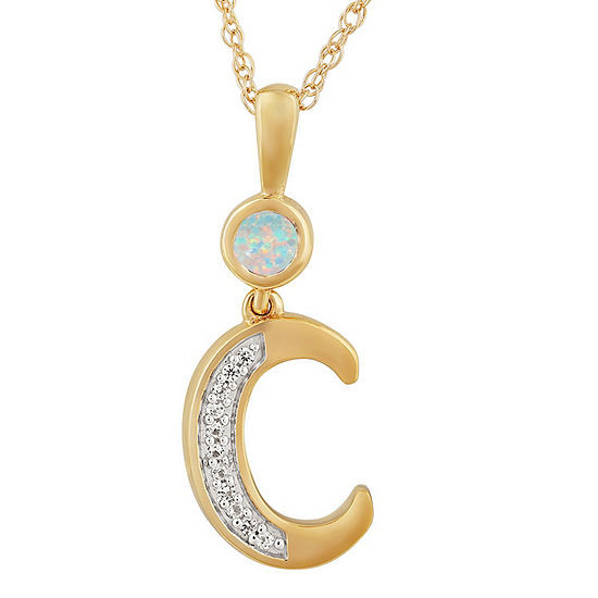 C Womens Lab Created White Opal 14K Gold Over Silver Pendant Necklace