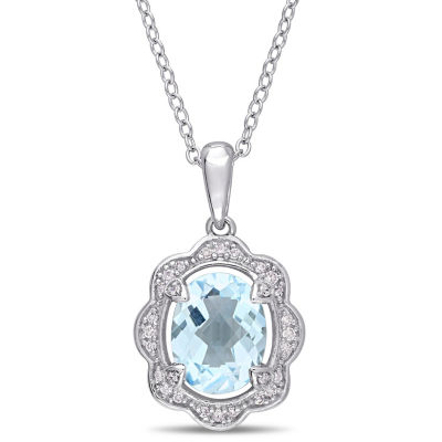 Womens 1/10 CT. T.W. Genuine Blue Topaz Sterling Silver Pendant Necklace