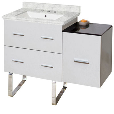 37.75-in. W Floor Mount White Vanity Set For 3H8-in. Drilling Bianca Carara Top White UM Sink