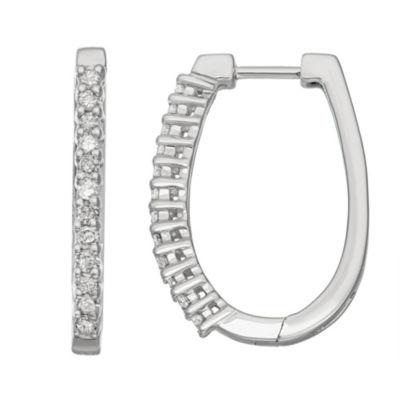 1/2 CT. T.W. White Diamond 10K White Gold 22.5mm Hoop Earrings