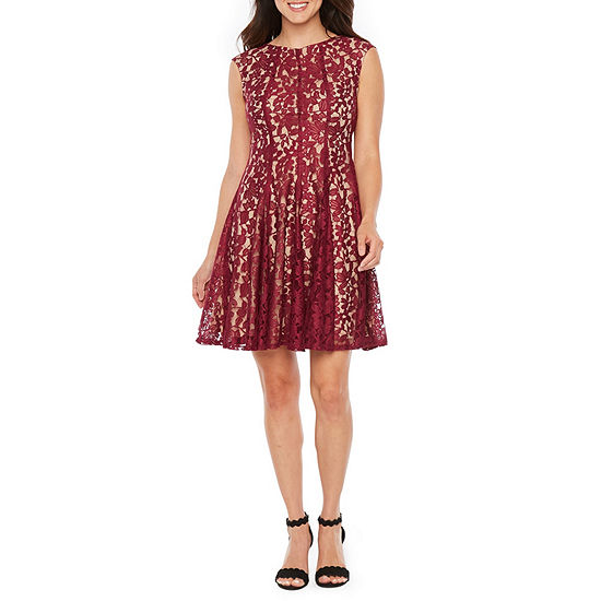 Danny Amp Nicole Sleeveless Lace Floral Fit Amp Flare Dress