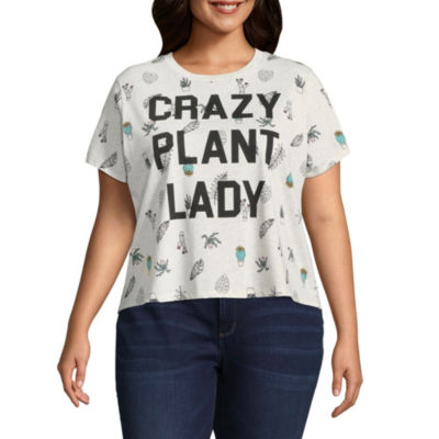 """""""Crazy Plant Lady"""" Cropped Tee - Juniors Plus"""