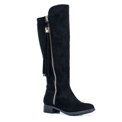 GC Shoes Womens Marlo Over the Knee Flat Heel Zip Boots