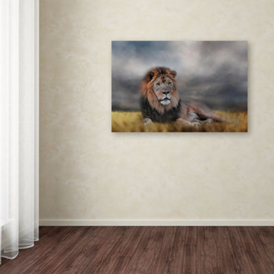 Trademark Fine Art Jai Johnson Lion Waiting For The Storm Giclee Canvas Art