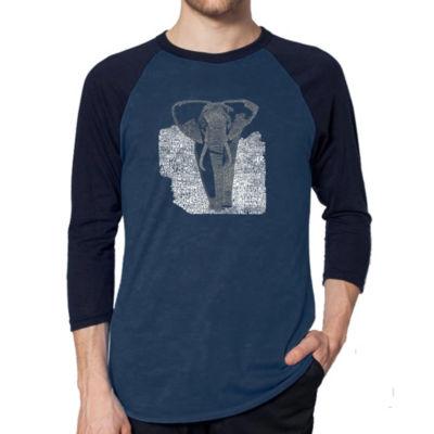 Los Angeles Pop Art Men's Raglan Baseball Word Art T-shirt - ELEPHANT