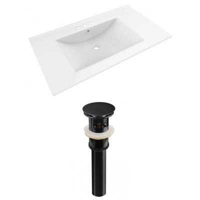 35.5-in. W 3H4-in. Ceramic Top Set In White Color- Overflow Drain Incl.
