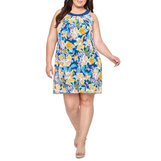 Robbie Bee Sleeveless Floral Sheath Dress - Plus