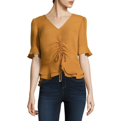 by&by Womens V Neck Elbow Sleeve Crepe Blouse-Juniors