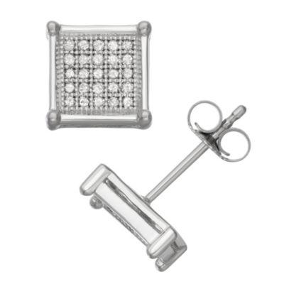 1/4 CT. T.W. White Diamond 10K White Gold 14mm Stud Earrings