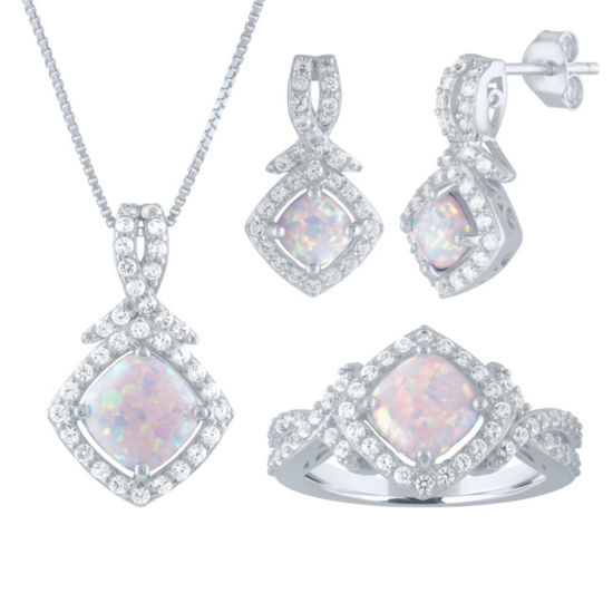 Lab Created White Opal Sterling Silver 3-pc. Jewelry Set