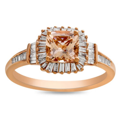 Womens Genuine Pink Morganite 10K Rose Gold Cocktail Ring