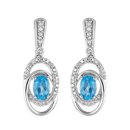 1/5 CT. T.W. Genuine Blue Topaz 10K White Gold Oval Drop Earrings