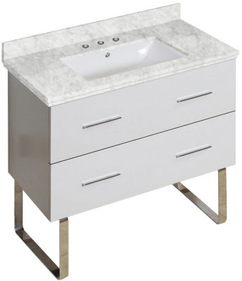 36-in. W Floor Mount White Vanity Set For 3H8-in.Drilling Bianca Carara Top White UM Sink