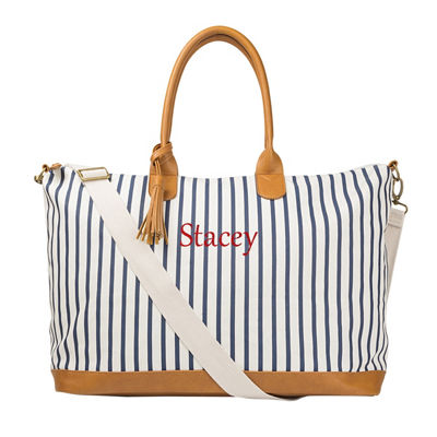 Cathy's Concepts Personalized Striped Weekender Tote Bag