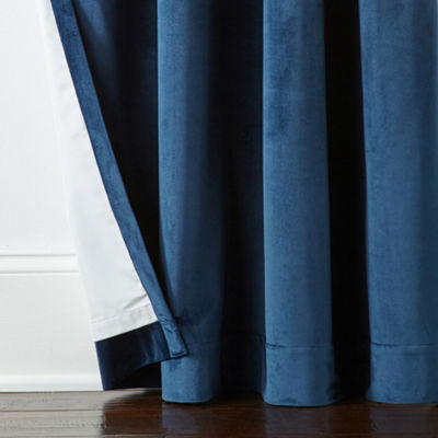 Liz Claiborne Holland Linen/ Velvet Pieced Blackout Grommet- Top Curtain Panel