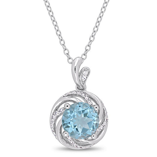 Womens Diamond Accent Genuine Blue Topaz Pendant Necklace