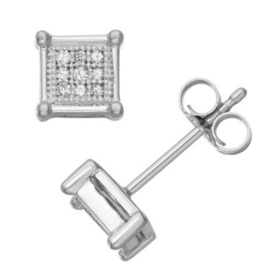 1/10 CT. T.W. White Diamond 10K White Gold 14mm Stud Earrings