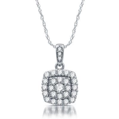 Diamond Blossom Womens 1/2 CT. T.W. Genuine White Diamond 10K White Gold Pendant Necklace
