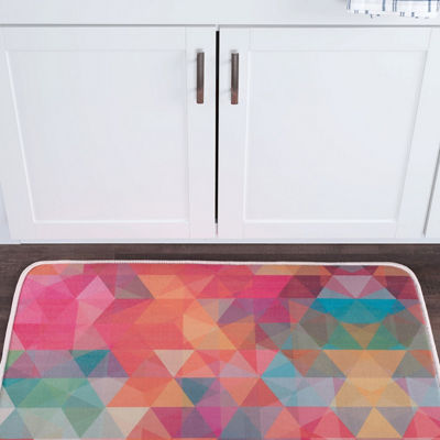 Tayse Cubes Contemporary Geometric Anti-Fatigue Comfort Kitchen Mat