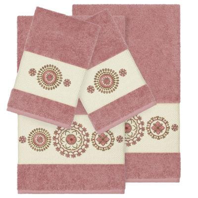 Linum Home Textiles 100% Turkish Cotton Isabelle 4PC Embellished Towel Set