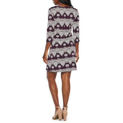 Ronni Nicole 3/4 Sleeve Pattern Puff Print Shift Dress