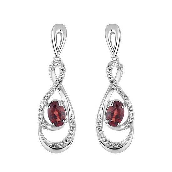 1/5 CT. T.W. Genuine Red Garnet 10K White Gold Oval Drop Earrings