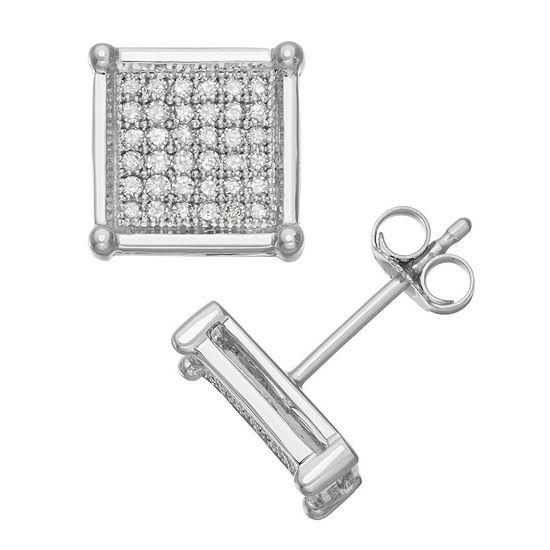 1/3 CT. T.W. Genuine White Diamond 10K White Gold 14mm Stud Earrings