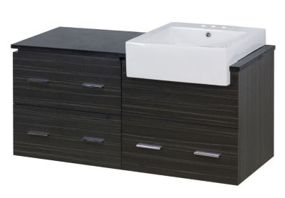 48.75-in. W Wall Mount Dawn Grey Vanity Set For 3H4-in. Drilling Black Galaxy Top