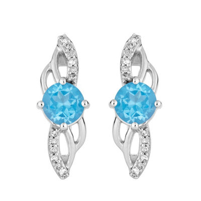Diamond Accent Genuine Blue Topaz 10K White Gold Round Drop Earrings