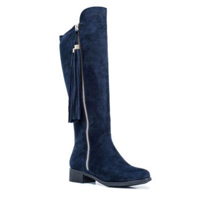 GC Shoes Womens Marlo Over the Knee Flat Heel Zip Boots