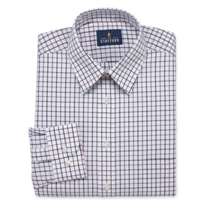 Stafford Travel Stretch Performance Super Long Sleeve Broadcloth Grid Dress Shirt
