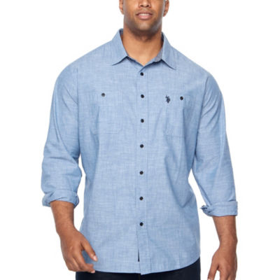U.S. Polo Assn. Mens Y Neck Long Sleeve Plaid Button-Front Shirt Big and Tall