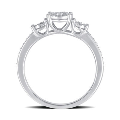 LIMITED QUANTITIES! Womens 1/4 CT. T.W. Round White Diamond Sterling Silver Engagement Ring