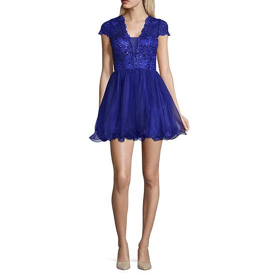 Haute Nites Short Sleeve Party Dress-Juniors