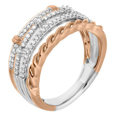 Womens 1/4 CT. T.W. Genuine White Diamond 10K Two Tone Gold Cocktail Ring