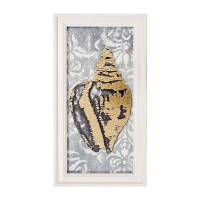 New View Metallic Seashells Printed Glass Canvas Art