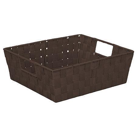 Woven Strap Shelf Tote 13x15x5, One Size , Brown