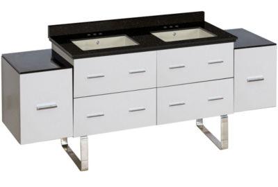 74-in. W Floor Mount White Vanity Set For 3H4-in.Drilling Black Galaxy Top Biscuit UM Sink