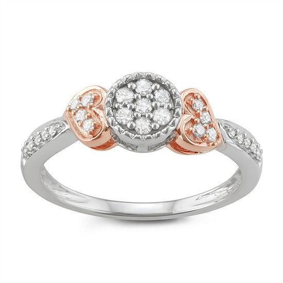 Womens 1/4 CT. T.W. Genuine White Diamond 10K Rose Gold 10K White Gold Heart Promise Ring