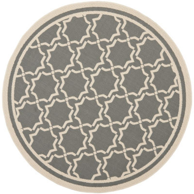 Safavieh Courtyard Collection Caymen Oriental Indoor/Outdoor Round Area Rug