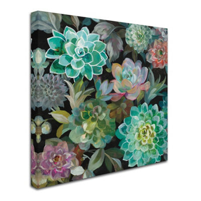 Trademark Fine Art Danhui Nai Floral Succulents v2Crop Giclee Canvas Art