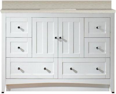 47.6-in. W Floor Mount White Vanity Set For 3H8-in. Drilling Beige Top Biscuit UM Sink