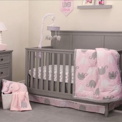 Nojo Pink Elephant 4-PC Crib Bedding Set