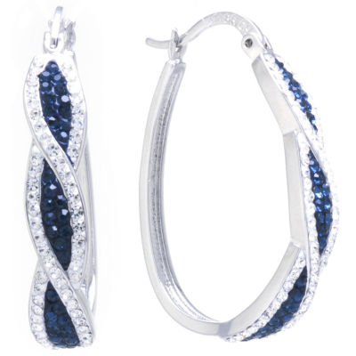 Sparkle Allure Crystal Earrings Multi Color Pure Silver Over Brass 35mm Oval Hoop Earrings