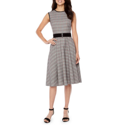 Danny & Nicole Sleeveless Plaid Fit & Flare Dress