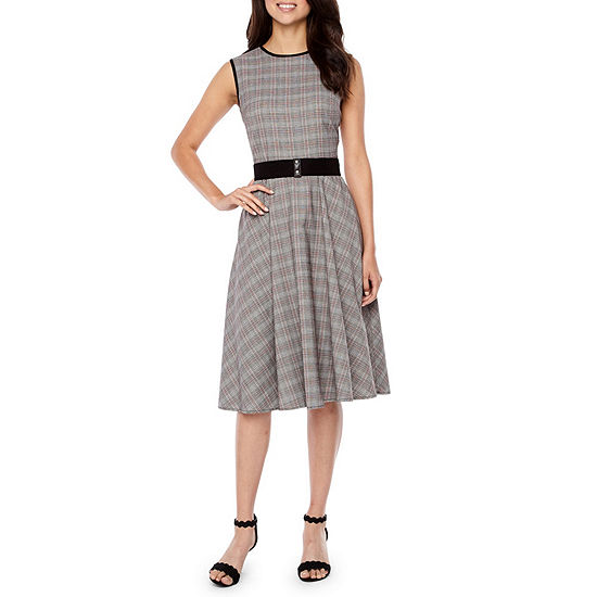 Danny Nicole Sleeveless Plaid Fit Flare Dress