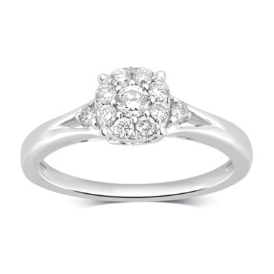 Womens 3/8 CT. T.W. Genuine White Diamond 14K Gold Cocktail Ring